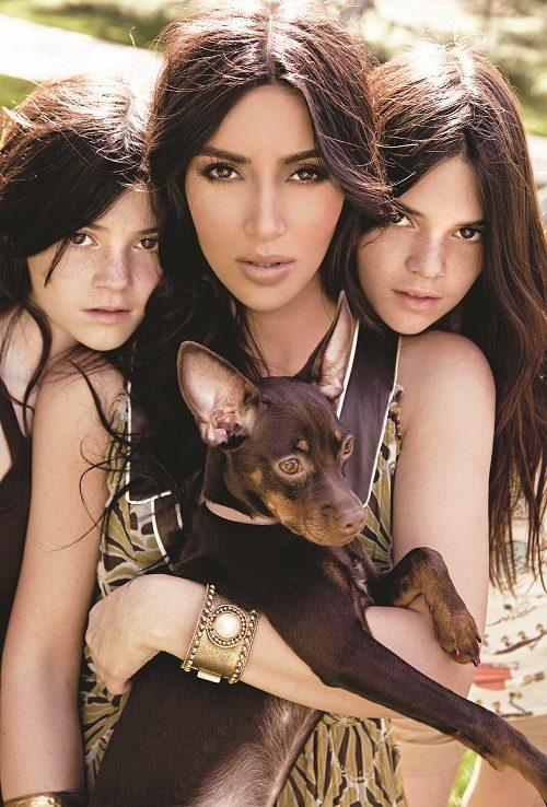 Kim Kardishian w Kendall and Kylie Jenner for K9 Magazine - Troy Jensen for MargaretMaldonado (LR)